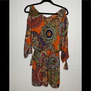 Umgee Orange Graphic Print Cold Shoulder Blouse M